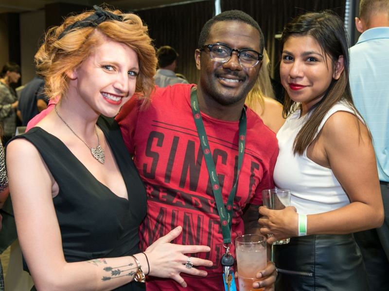 12 Tori Villegas, from left, Nate Reffell and Maria Bernal at the Crafted mixology contest at Mr. Peeples July 2014