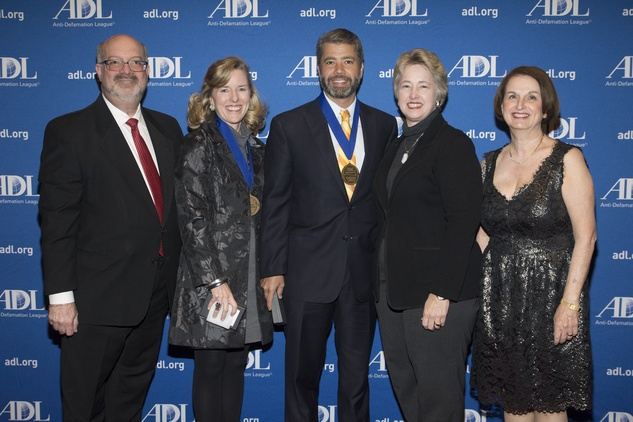 Martin Cominsky, from left, Bee Dickson, Trey Martinez, Mayor Annise Parker and Judith Finkel at the ADL Houston in Concert Against Hate November 2014