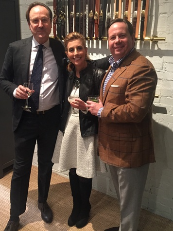 Sid Mashburn, from left, Linda Brown and Blake Tartt at Sid Mashburn + Ann Mashburn Houston Anniversary Party December 2014