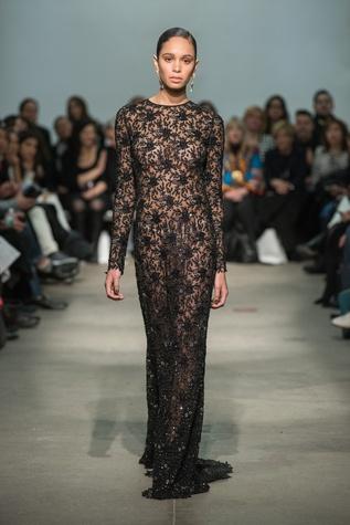 Rolando Santana embellished long-sleeve evening gown