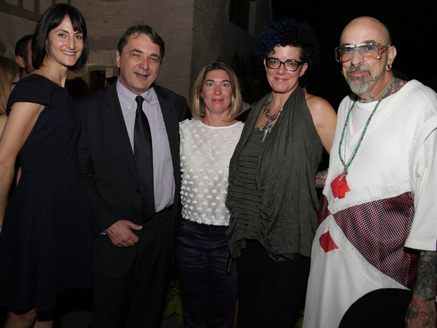 7 Emily Church, from left, Mark Wawro, Claudia Schmuckli, Robin Held and Mark Mitchell at the Laurie Anderson Dinner + Mitchell Artist Lecture September 2014
