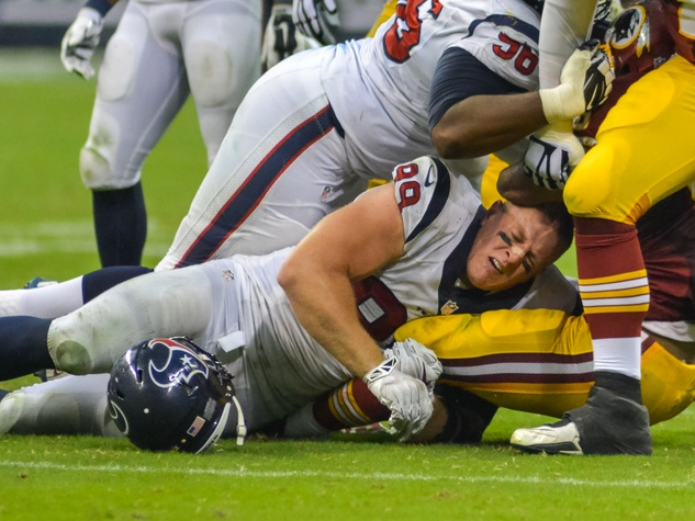 J.J. Watt Texans Skins helmet off