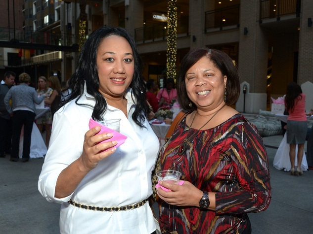 12 Patty Kyle, left, and Genevieve Joseph at the West Ave Turns Pink party October 2013