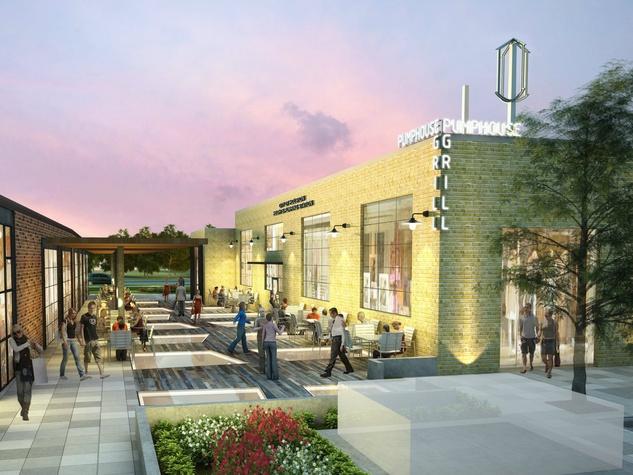 Heights Waterworks exterior rendering shoppers courtyard restaurant