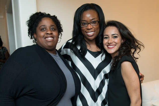 13 Kelser McMiller, from left, Tiffany Sanders and Maryam Afshari at the HGO Young Patrons Kick-off September 2014