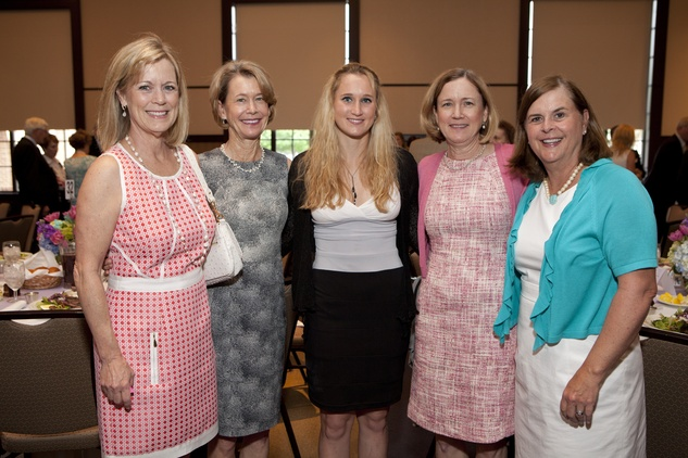 230 Sheryl Doyle, from left, Anne Thomson, Ginny Fuchs, Peg Fuchs and Alden Womack at the Hope and Healing Center luncheon May 2014