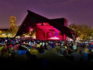 Miller Outdoor Theater crowd venue at night