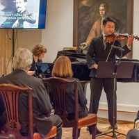 Houston, Da Camera VIP launch event for Sarah's Marcel Proust Project, Sarah on piano, Boson on violin