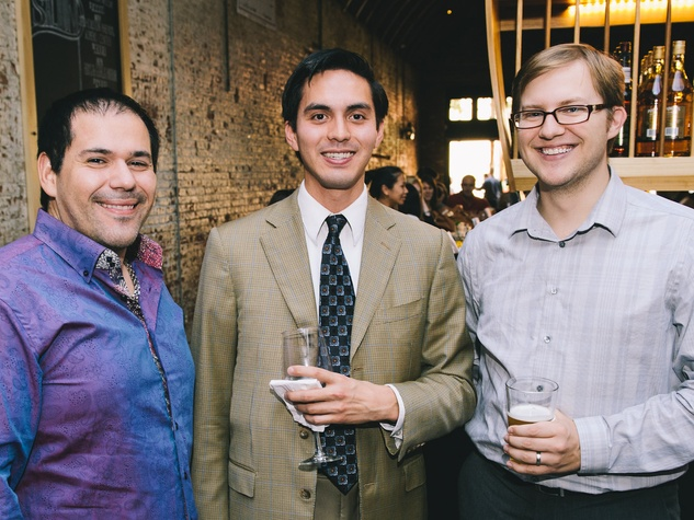 Andrew DeLuna, from left, Aaron Robinson and Justin Morton at the Houston Symphony Young Professionals Backstage kick-off party