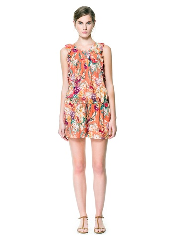 zara PRINTED JUMPSUIT WITH FRILLS