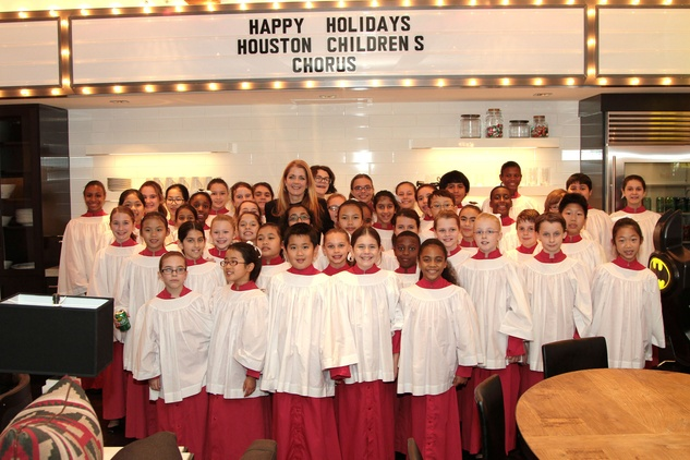 Paige Fertitta and the Houston Children's Chorus at the 9th Annual Santa's Elves Event December 2014