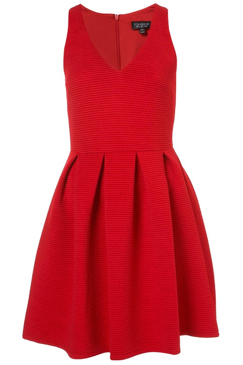 topshop red pleasted skirt