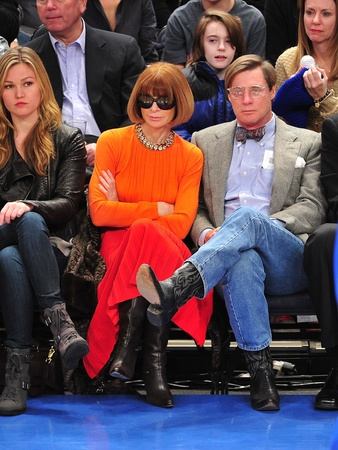 Julia Stiles, Anna Wintour, Shelby Bryan, Chicago Bulls vs New York Knicks at Madison Square Garden, in February 2012