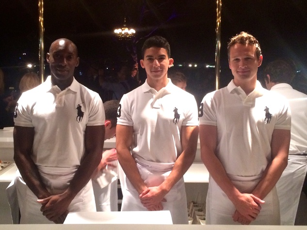 Models and servers at Ralph Lauren Polo event at Central Park