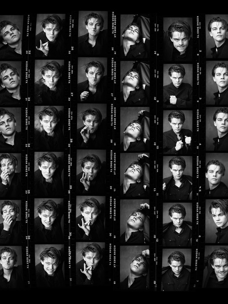 News_Greg Gorman_Leonardo Di Caprio_contact sheet