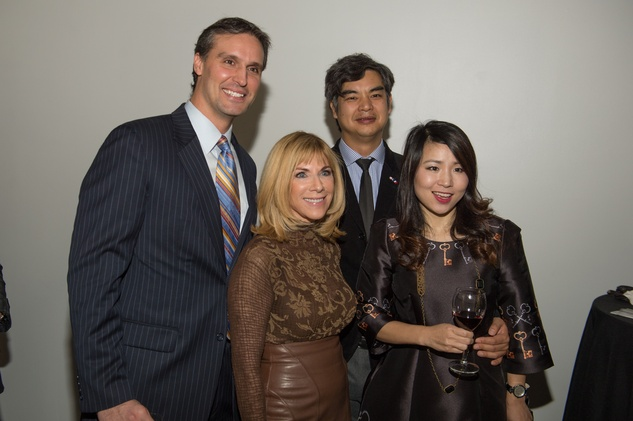69 Aymeric Martinola, from left, Rae Fairfield, Consulate General of France Sujiro and Jane Seam at the Vault Light as Air fashion show January 2015