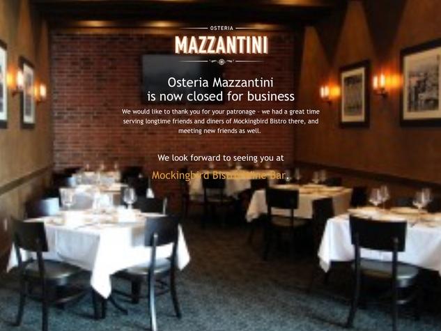 Osteria Mazzantini closing announcement January 2015