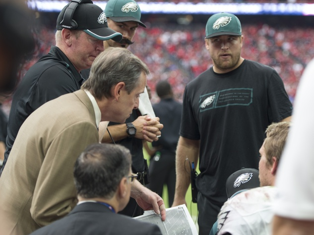 Texans vs. Eagles Eagles quarterback injury with replacement November 2014 coaches with Nick Foles on sideline