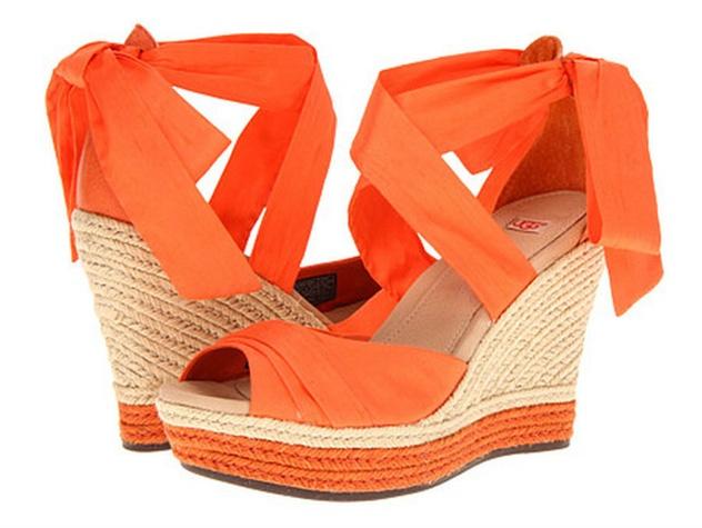 zappos orange ankle tie wedges