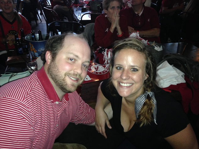 Alabama fans Brent and Paige Harris at watch party Nov 2013
