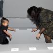 Kim Kardashian and North West at the adidas Originals x Kanye West YEEZY SEASON 1 fashion show