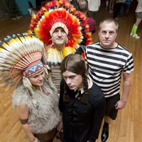 2329 Hunter Martin (Wednesday Addams) Matt Overaker (Pugsely Addams) and Hank Stout and Marit Babin Stout at Camp Catastrophic May 2014