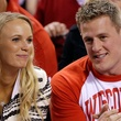 JJ Watt and Caroline Wozniacki at NCAA men's basketball finals