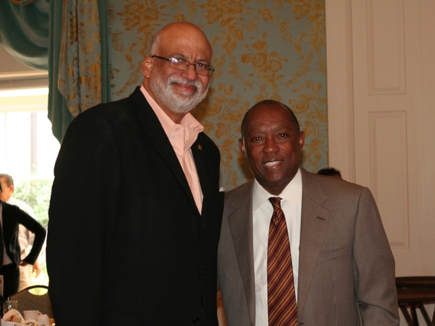 035 Larry Payne, left, and Sylvester Turner at the Community Artists' Collective's luncheon September 2014