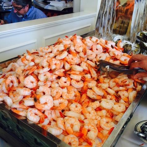 Shrimp at Hotel Galvez Sunday brunch