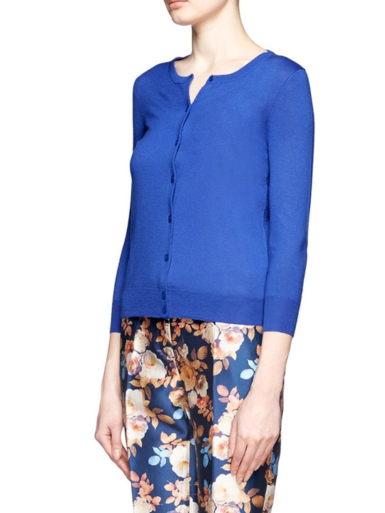 office summer sweaters J. Crew featherweight cashemere collection in Brilliant Blue $188