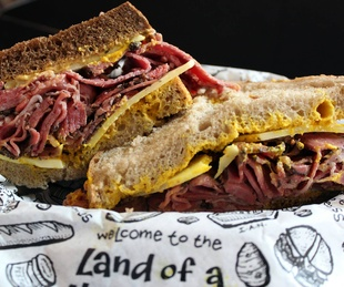 Zingerman's Delicatessen Ann Arbor corned beef pastrami sandwich Jon & Amy's Double Dip 2015