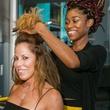 CultureMap Country Club Social, Christine Winston having hair done, Davijah Brown, Stylist Drybar