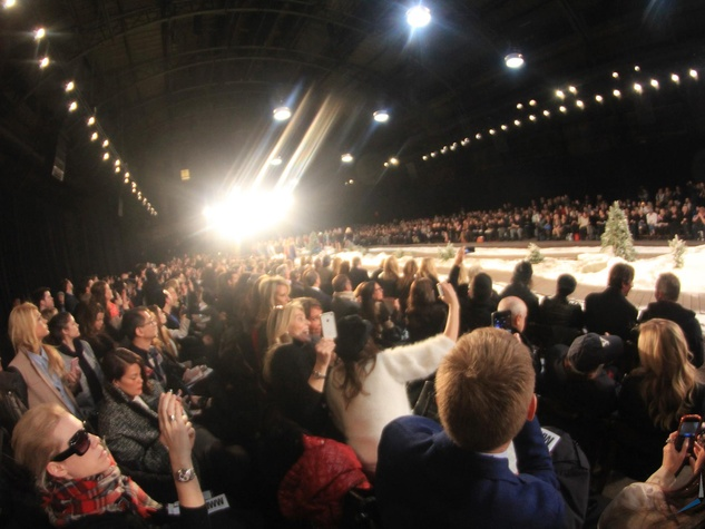 Houston Fashion Week crowd with runway lights