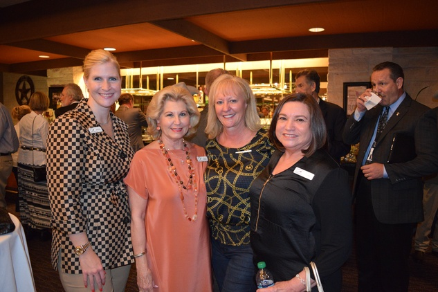 5 Jennifer Currey Van Matre, from left, Peggy Hollis, Dawne Martin and  Santa Gonzales at the Houston Livestock Show and Rodeo Trailblazer honoree reception October 2014