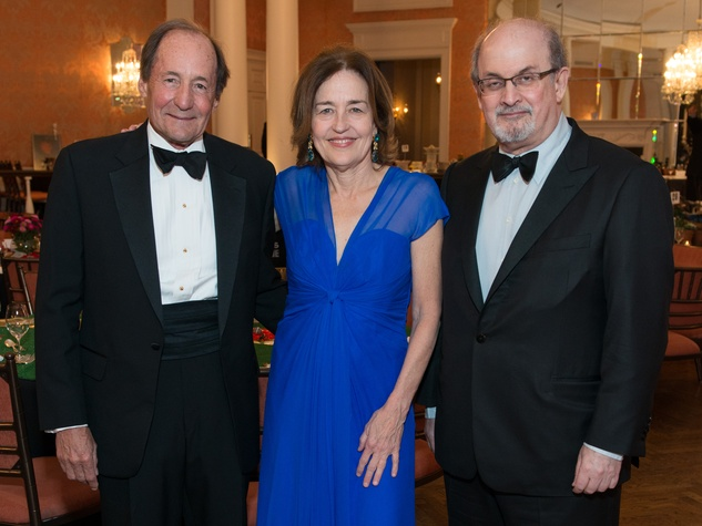 3 Jeff Fort, from left, Andrea White and Salman Rushdie at the Inprint Ball February 2015