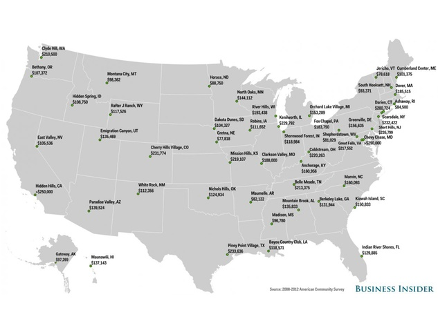 Business Insider richest cities Piney Point U.S. map February 2015