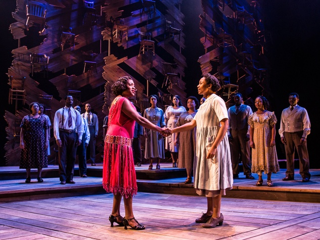 Carla R. Stewart (Shug Avery) and Adrianna Hicks (Celie) and the North American tour cast of The Color Purple