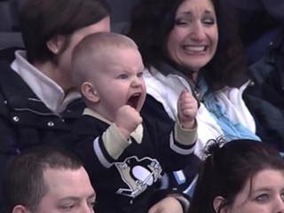 Kid screams for hockey
