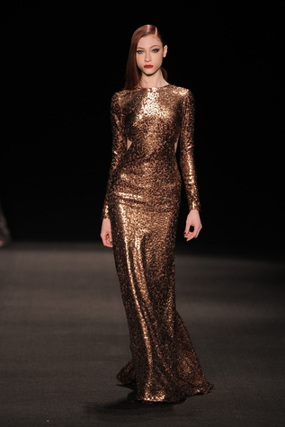 Monique Lhuillier copper burnout velvet long sleeve gown