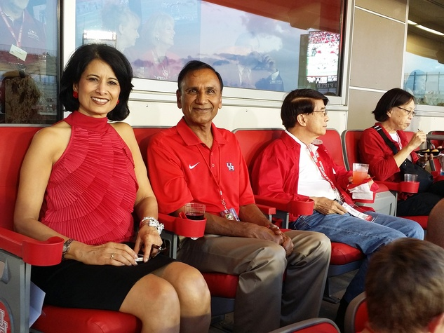 News, Shelby, UH Stadium Suite Life, Sept. 2014, Renu Khator, Suresh Khator