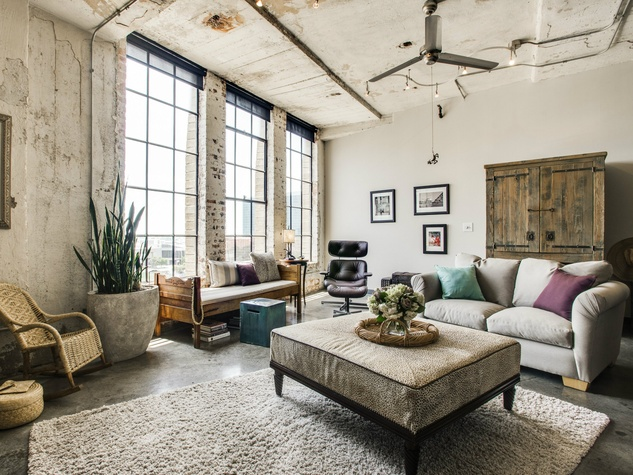 Living room at 1122 Jackson St. in Dallas