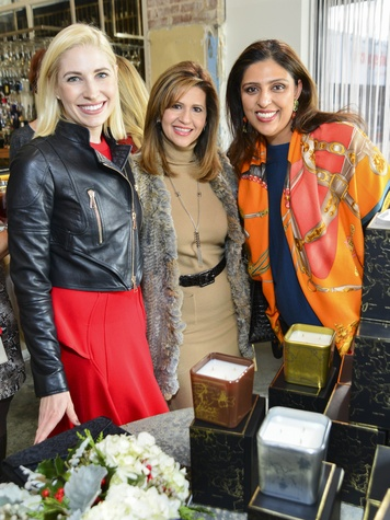 16 Isabel David, from left, Mehrnaz Gill and Nidhika Mehta at the Petra Nemcova luncheon December 2013