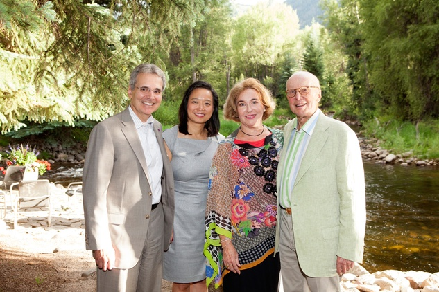 Dr. Ron DePinho, from left, Dr. Lynda Chin and Barbara and Gerry Hines at M.D. Anderson in Aspen July 2014
