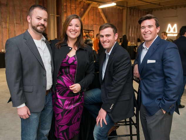 14 Mike Olive, from left, Heather Amos, Jason Johnson and Christian Johnson at the CultureMap Social at Gateway November 2014