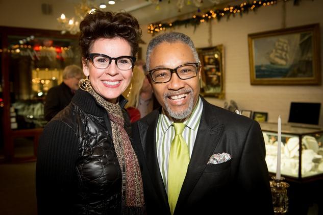 25 Barbara Henson and Montague at the Valobra Pin Oak holiday party December 2014