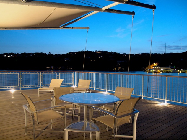 1906 Scenic Drive party deck twilight