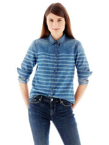 jc penney Joe Fresh™ Stripe-Dyed Denim Shirt