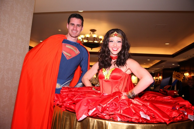 "Superman and Wonder Woman at Crossroads School's ""Superhero Soiree"" Gala February 2015"