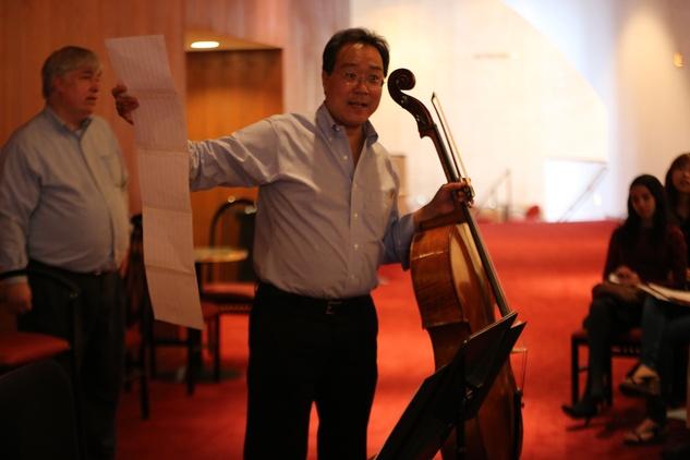 Yo-Yo Ma plus John Williams Houston Symphony rehearsal education event Jones Hall