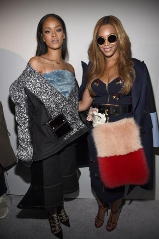 Rihanna and Beyonce pose backstage at the adidas Originals x Kanye West YEEZY SEASON 1 fashion show